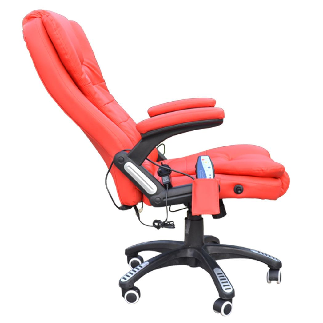 rio red leather reclining w 6 point massage heat high back