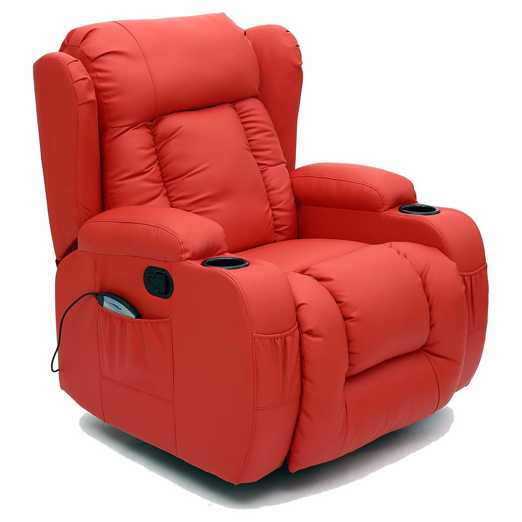 10 in 1 winged leather recliner chair rocking massage swivel heated