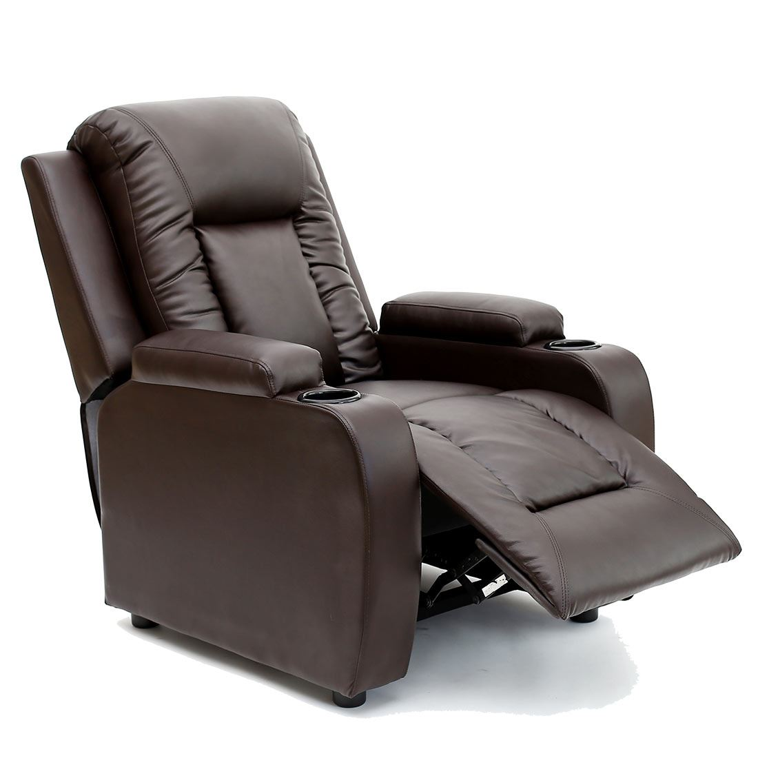 Oscar Brown Leather Recliner W Drink Holders Armchair Sofa