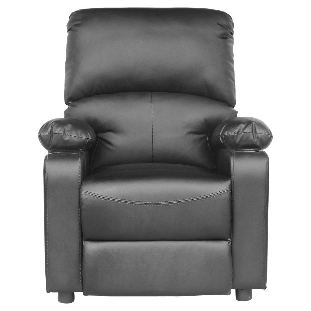 kino real black leather recliner w drink holders armchair. Black Bedroom Furniture Sets. Home Design Ideas
