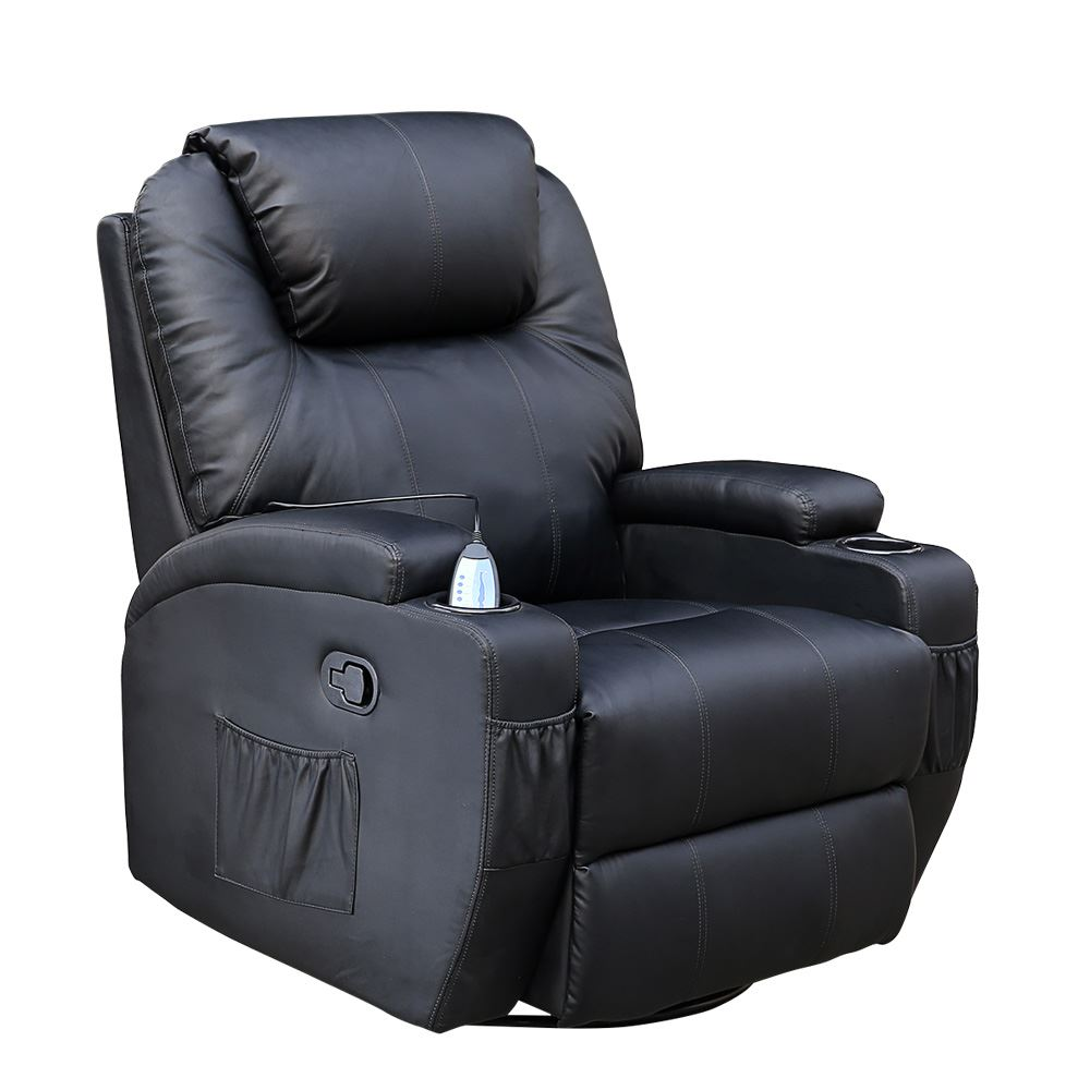 Leather Rocker Swivel Recliner CINEMO BLACK LEATHER