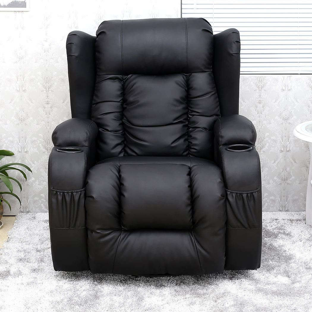 Caesar Black Winged Leather Recliner Chair Rocking Massage