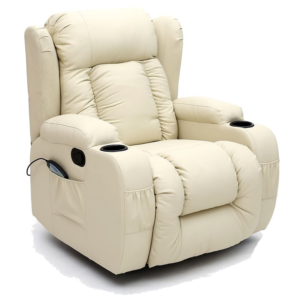 CAESAR 10 IN 1 WINGED LEATHER RECLINER CHAIR ROCKING ...