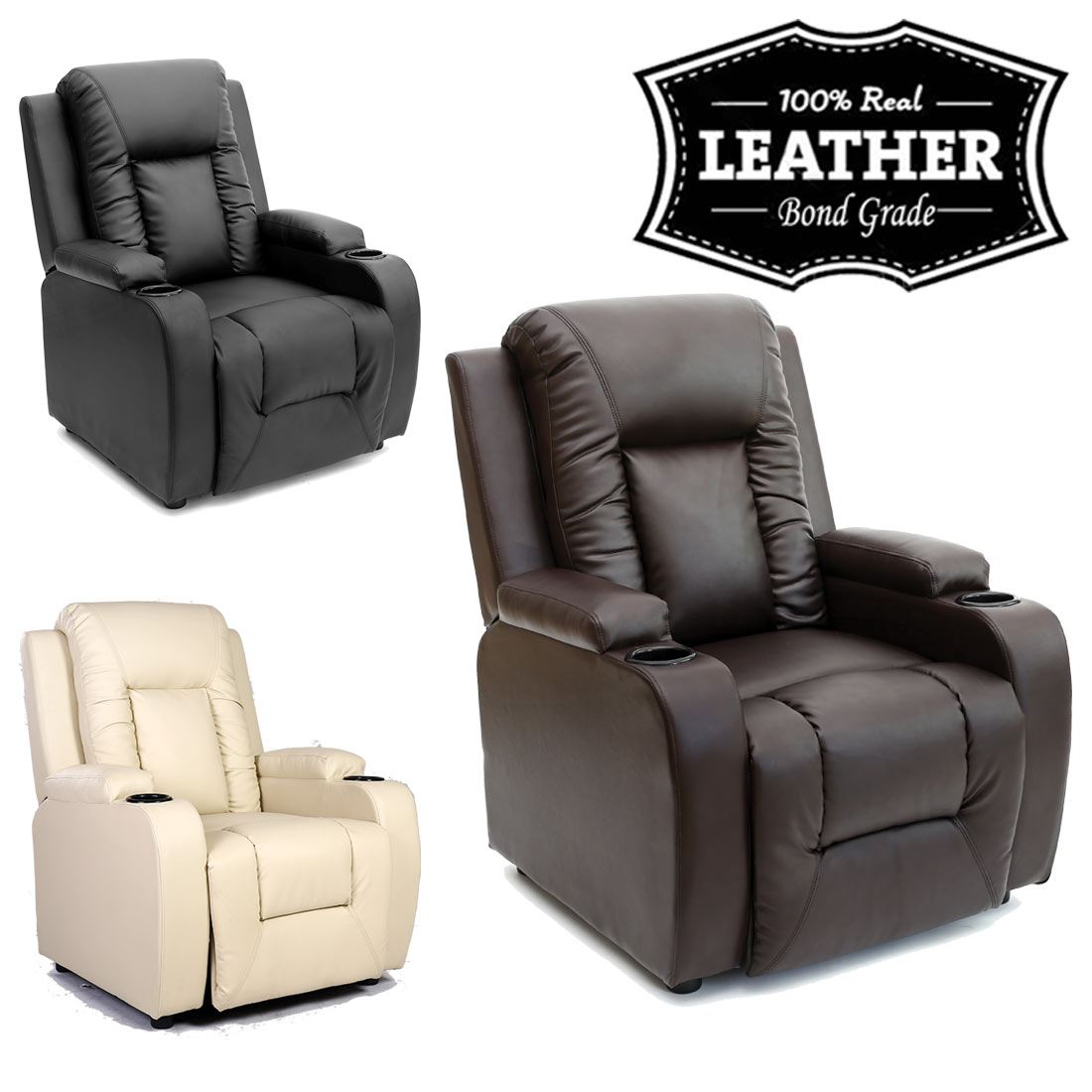 Oscar Leather Recliner W Drink Holders Armchair Sofa Chair Reclining Cinema Ebay