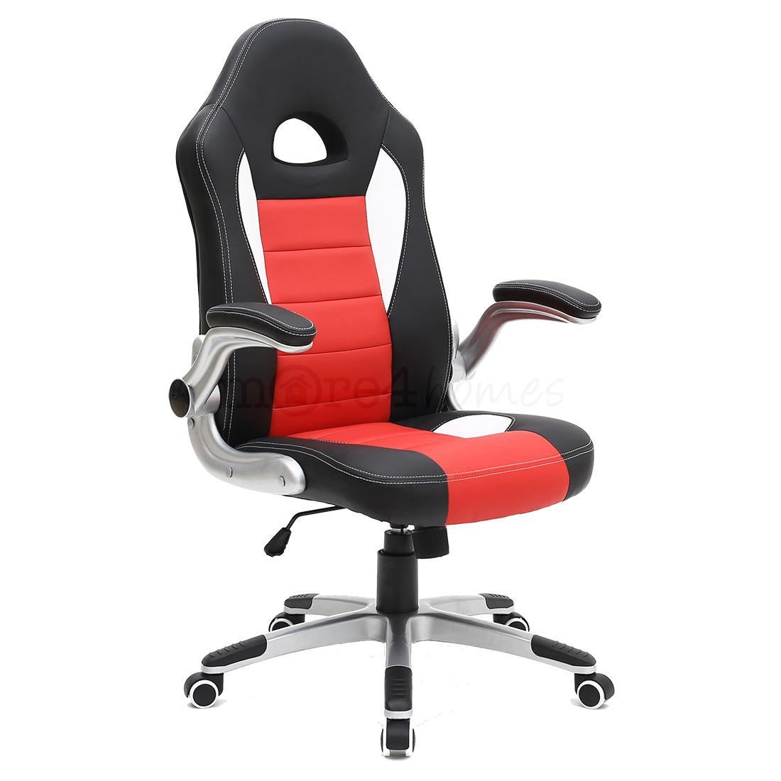 cruz sport racing car office chair leather adjustable arms gaming desk bucket. Black Bedroom Furniture Sets. Home Design Ideas