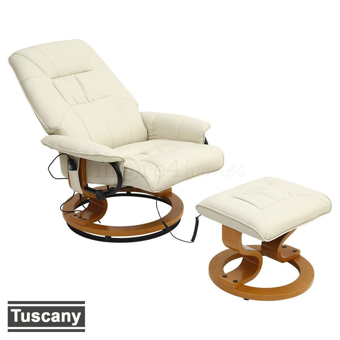 real leather cream swivel recliner massage chair w foot stool armchair