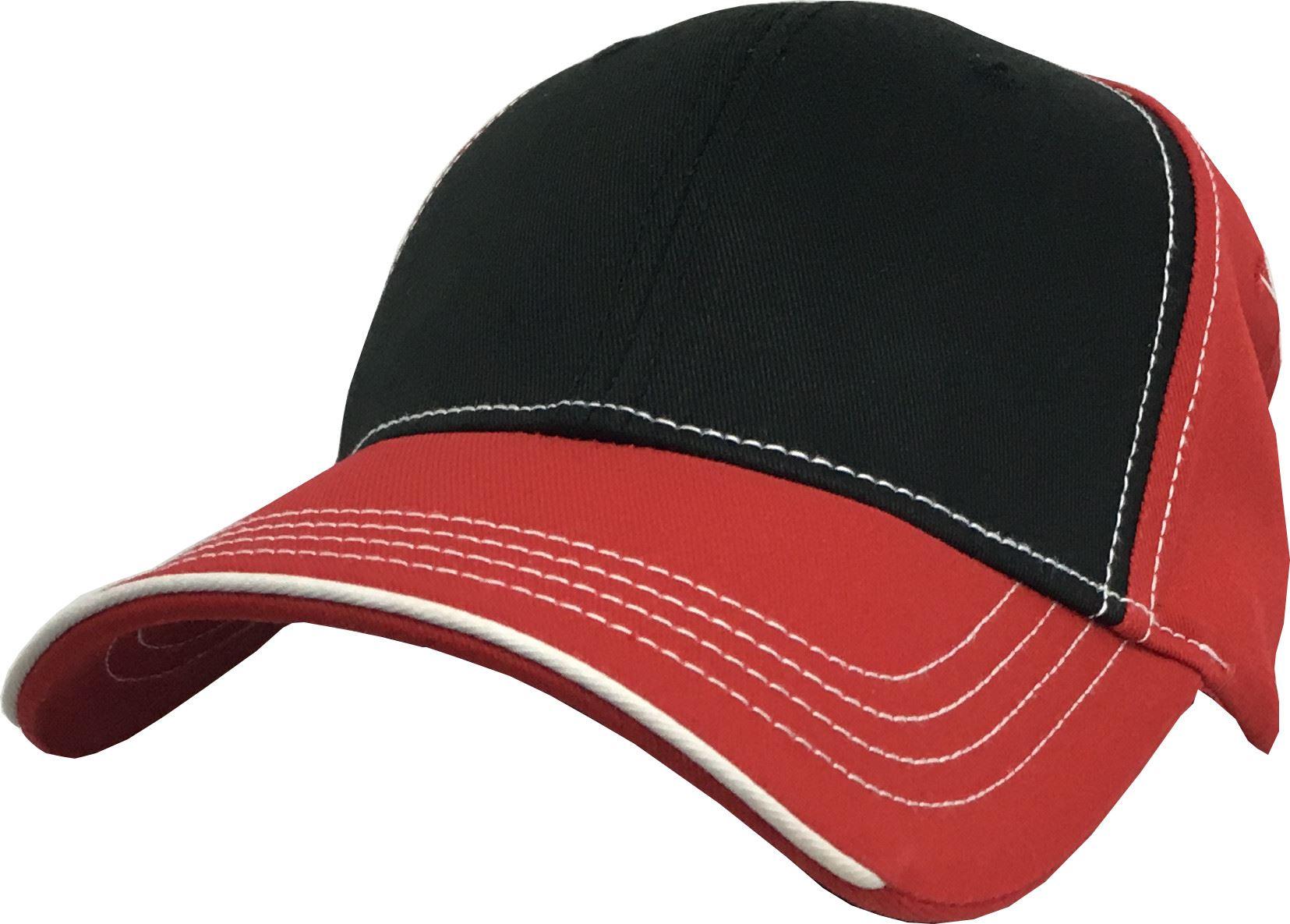 Plain Contrast Stitch Hat Adult Cotton Performance ...  Stitch Cap