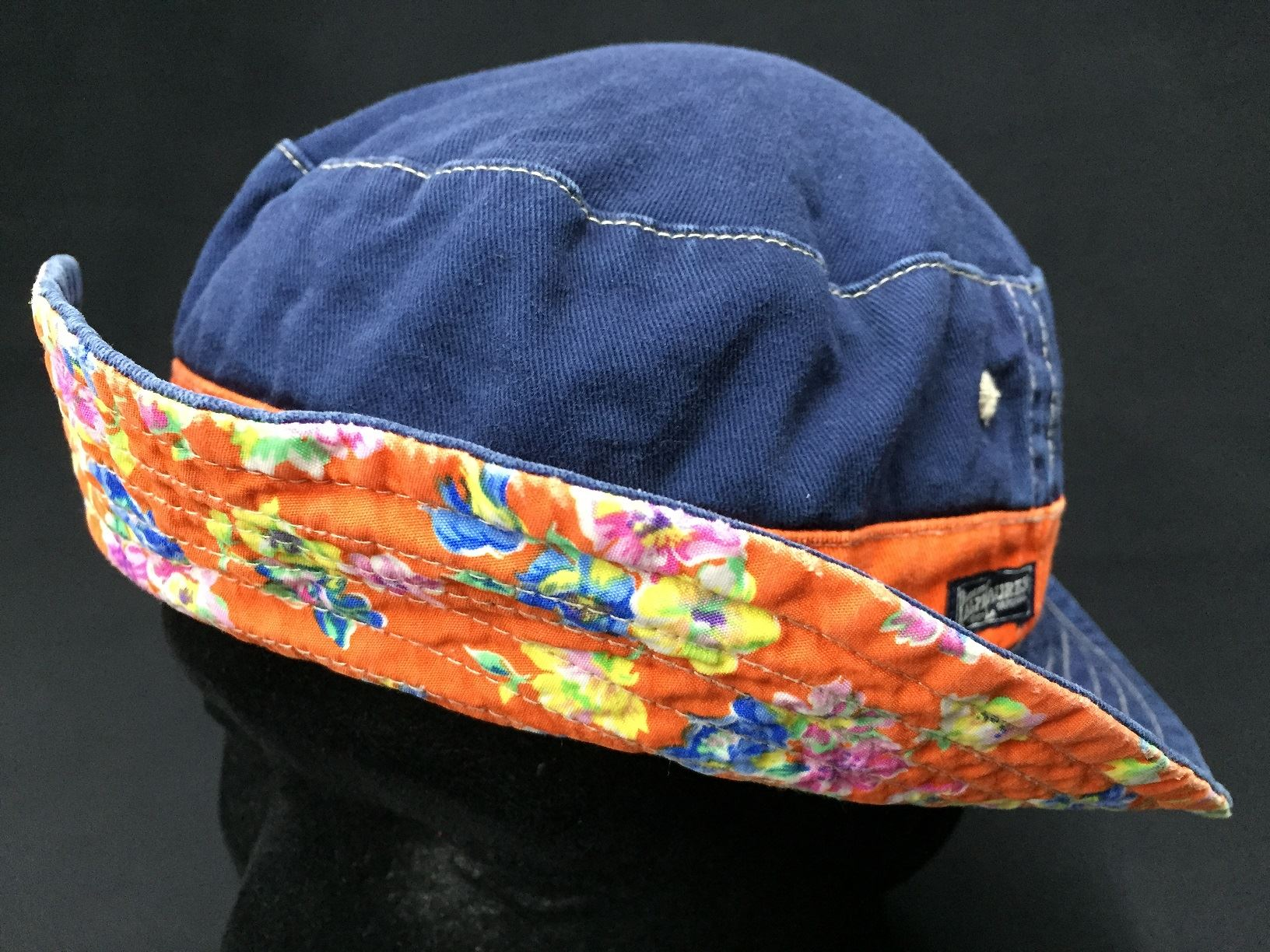 POLO RALPH LAUREN Reversible Floral Orange To Navy Bucket Hat  7ab3805265b