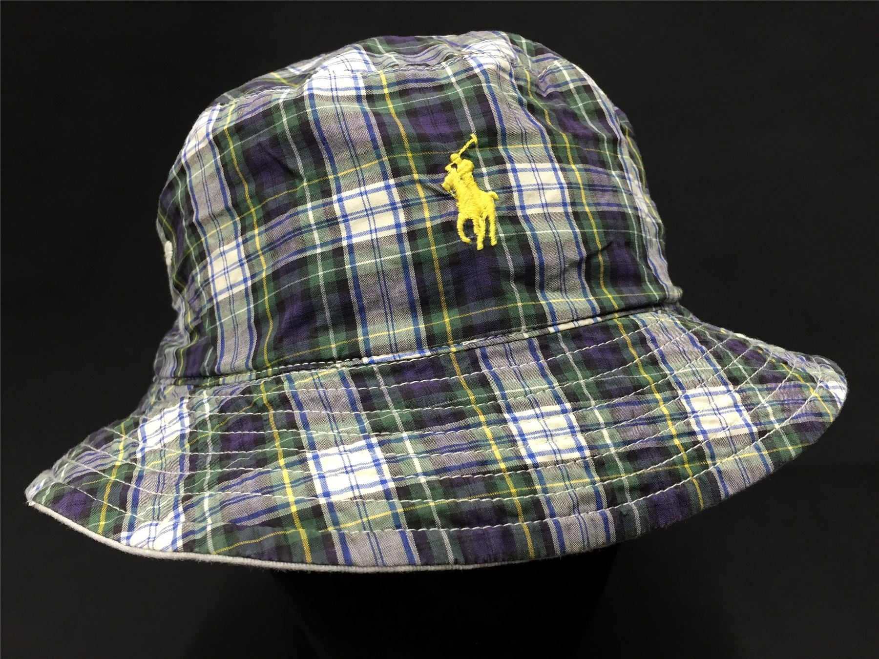 reversible blue green check plaid 100 cotton white bucket hat. Black Bedroom Furniture Sets. Home Design Ideas
