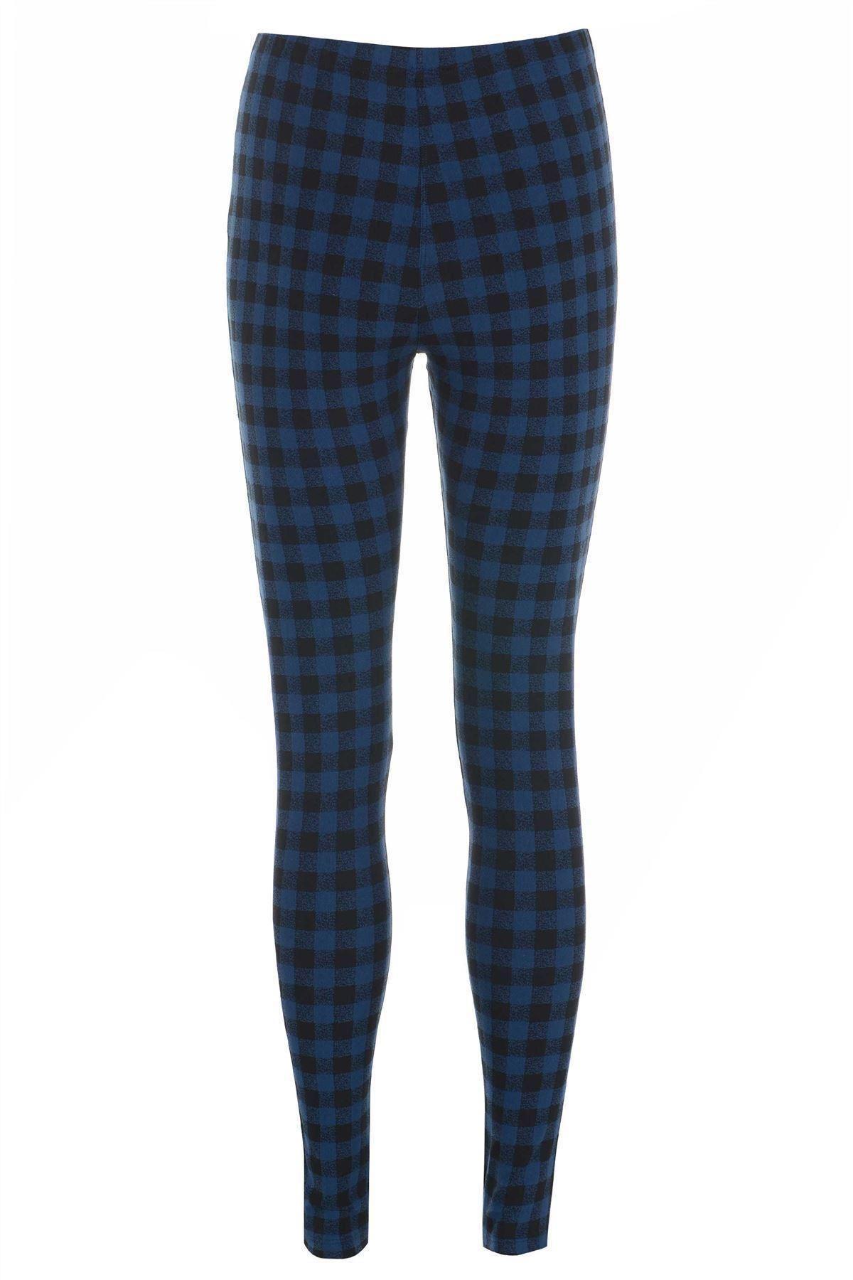 TOPSHOP Black / Blue Check/Plaid/Tartan Skinny Womenu0026#39;s Leggings | eBay