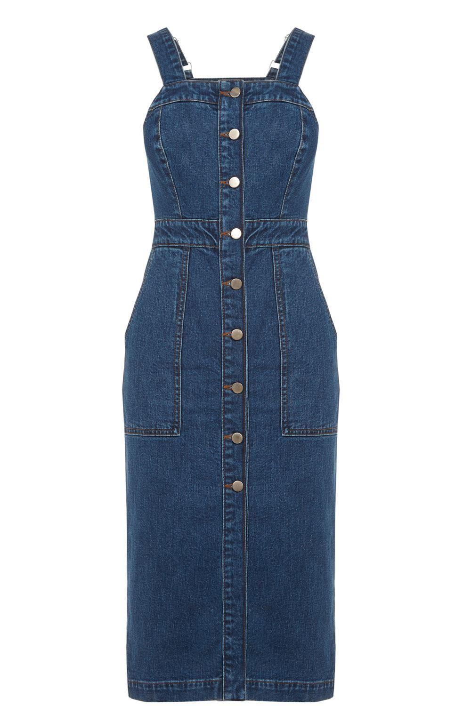 White pinafore apron ebay - 039 Warehouse 039 Denim Blue Button Down Adj