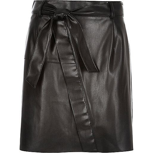 ex river island black leather look belted mini skirt w