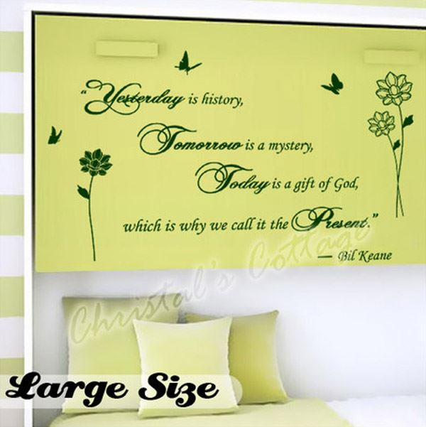 Fancy Writing Yesterday Today Tomorrow Quote Wall Art Decals ...