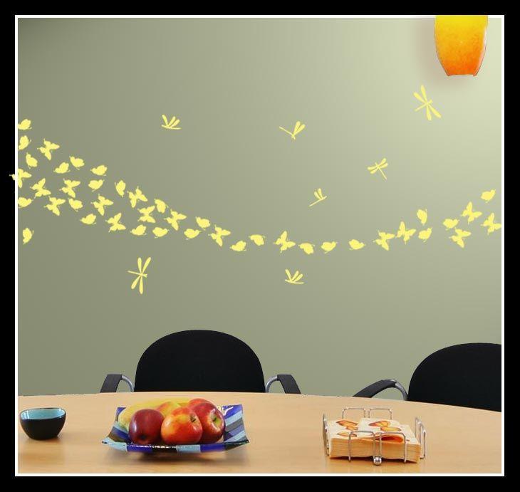 62 Decalcomanie di farfalle e libellule da muro decorative colorate in vinile  eBay