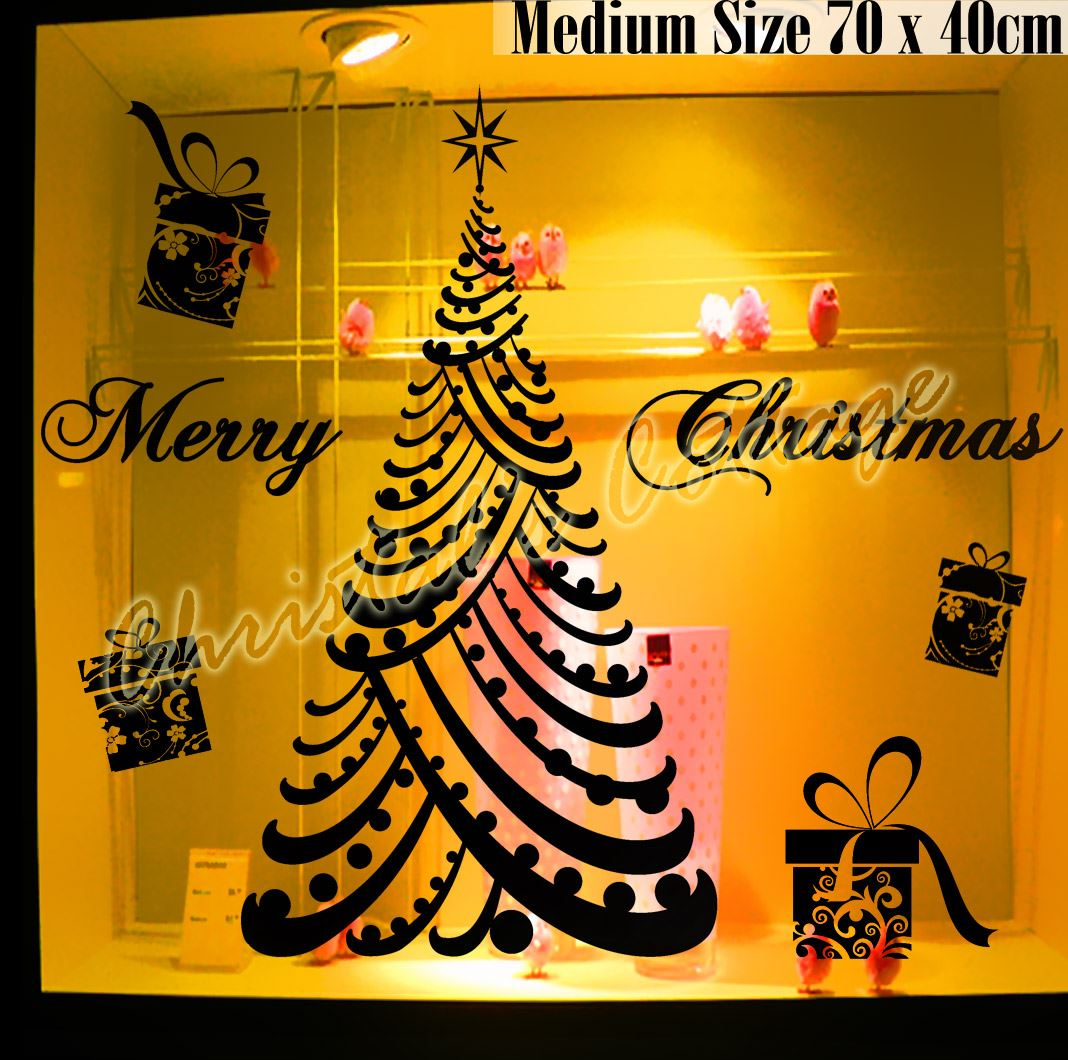 Large Luxury Merry Christmas Tree Gift Box Present Shop Window Wall ...