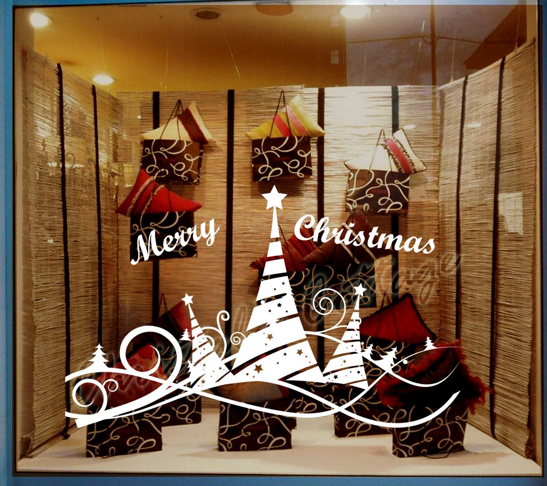 christmas tree 5 ribbon shopwindow show window wall art decoration sticker decal ebay. Black Bedroom Furniture Sets. Home Design Ideas