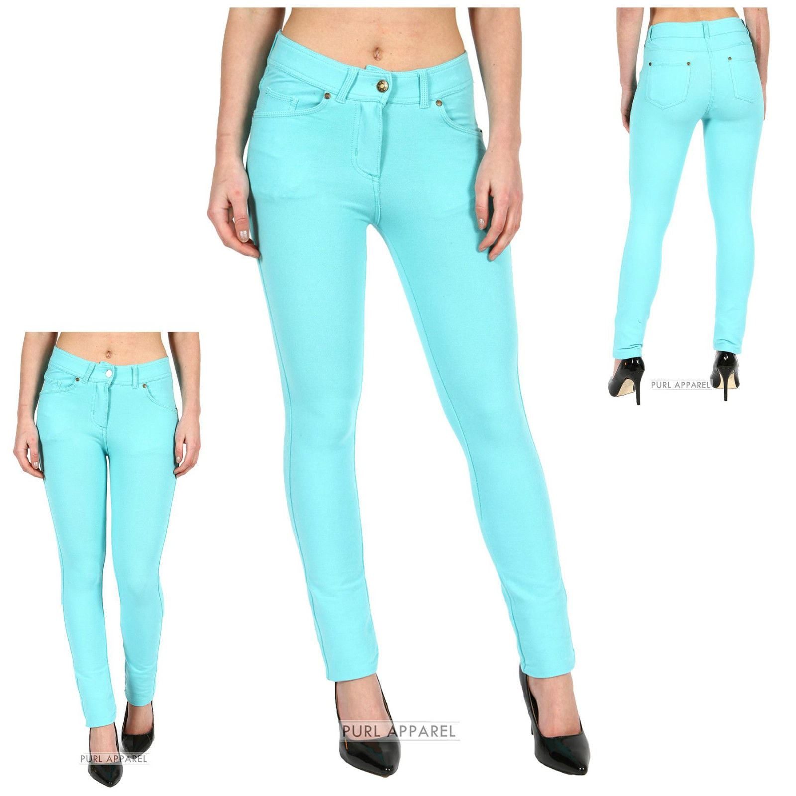 Ladies Womens Skinny Fit Coloured Jeggings Stretchy Jeans New ...
