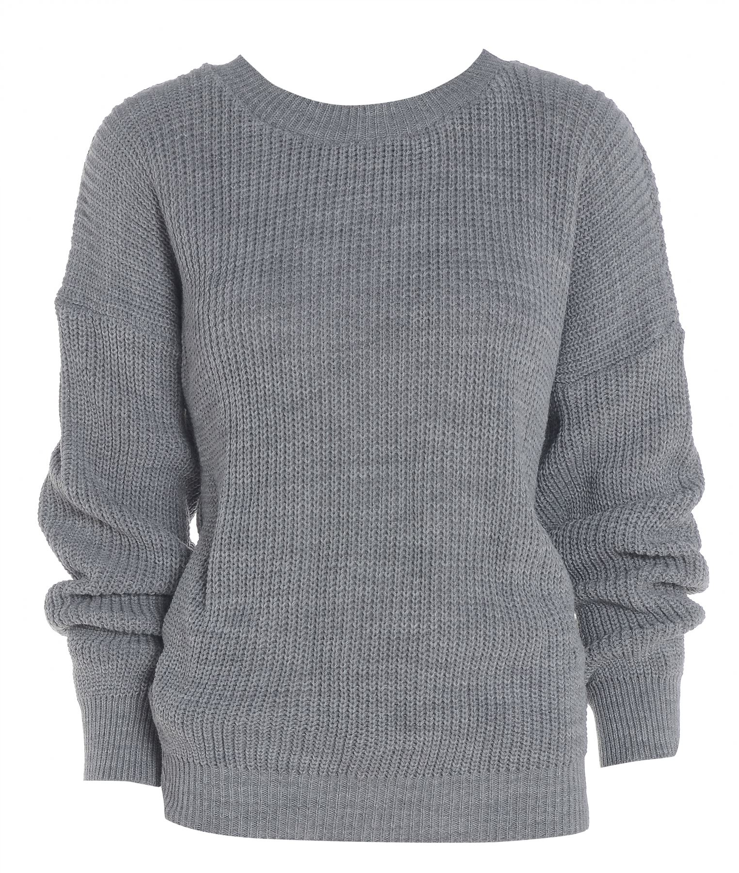 Womens Ladies PLAIN COLOUR BAGGY JUMPER Chunky Sweater Knitted Casual TOP eBay