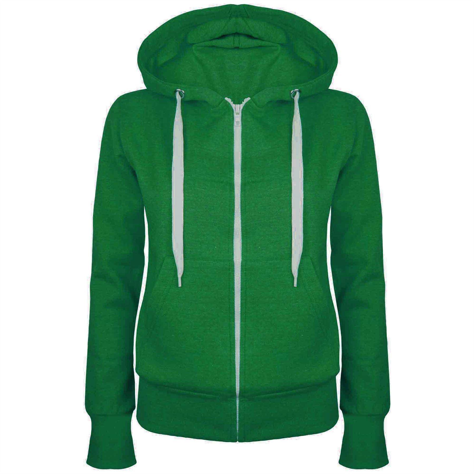 Womens Ladies Plain Hoodie Fleece Sweatshirt Hooded Coat Jumper ...
