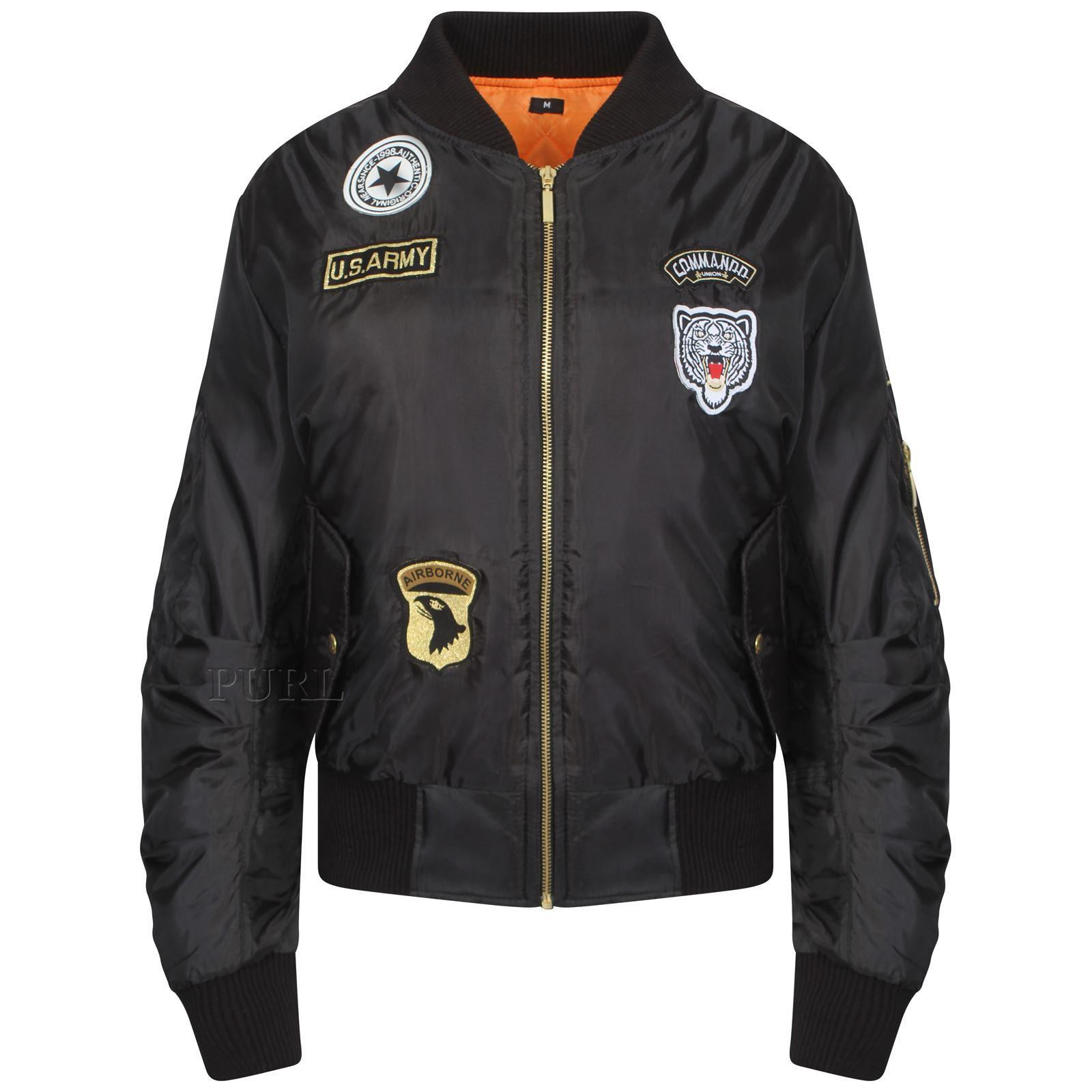 Ladies Womens Vintage Bomber Jacket Plus Size US Army Badges Biker Jacket MA1 | EBay
