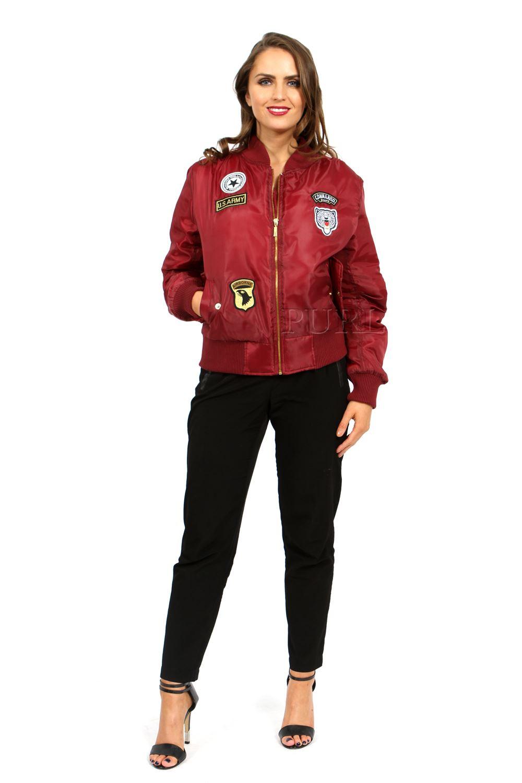 Womens Vintage Bomber Jacket Ladies Plus Size US Army Badges Biker ...