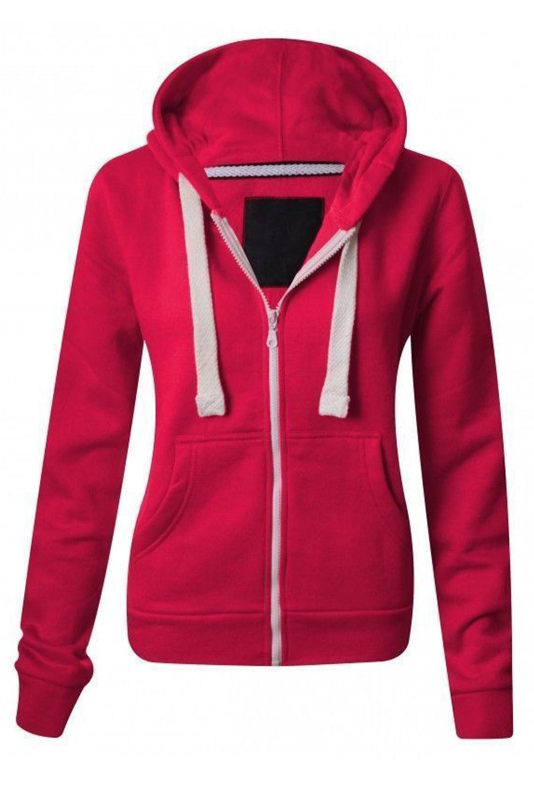 Womens Ladies Plain Hoodie Fleece Sweatshirt Hooded Coat ...