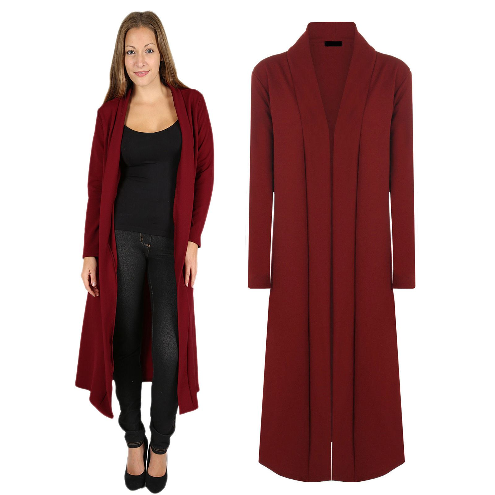 Womens Long Red Cardigan | Tulips Clothing