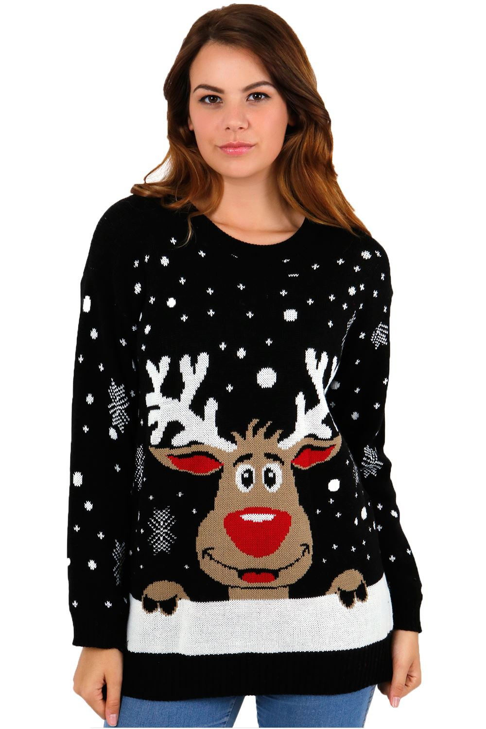 This cozy garment doesn't just stop at knitted designs; it features a plush reindeer trophy and wreath mounted against a brick pattern. If anyone asks you where you got such a cheerful reindeer head decoration, just tell them it's a family tradition.