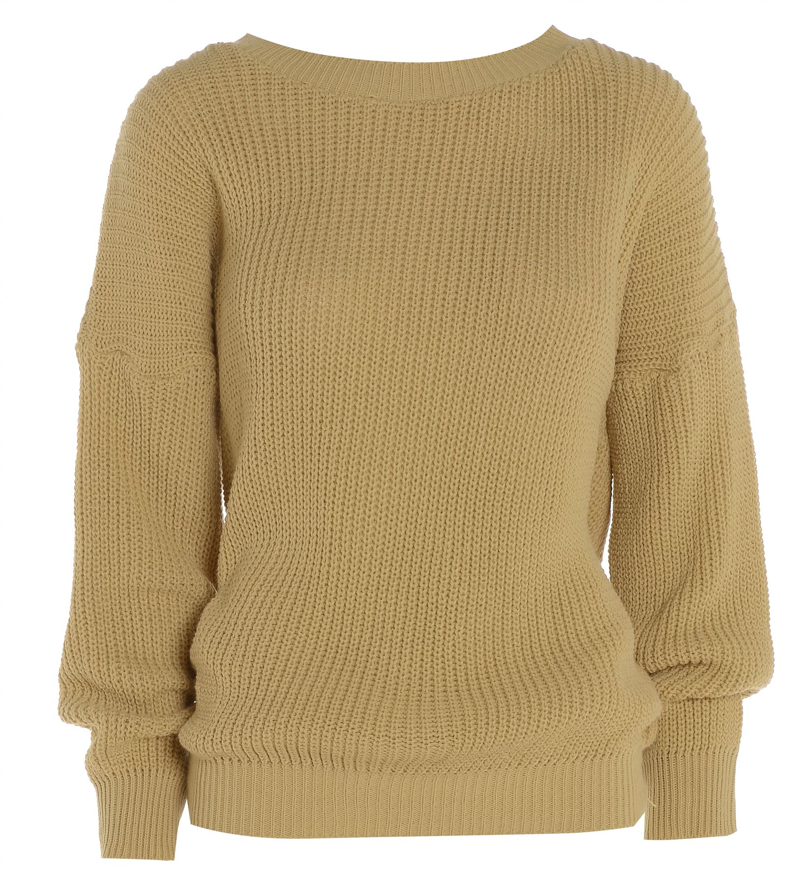 Knitting Pattern Plain Jumper : Womens Ladies PLAIN COLOUR BAGGY JUMPER Chunky Sweater Knitted Casual TOP eBay