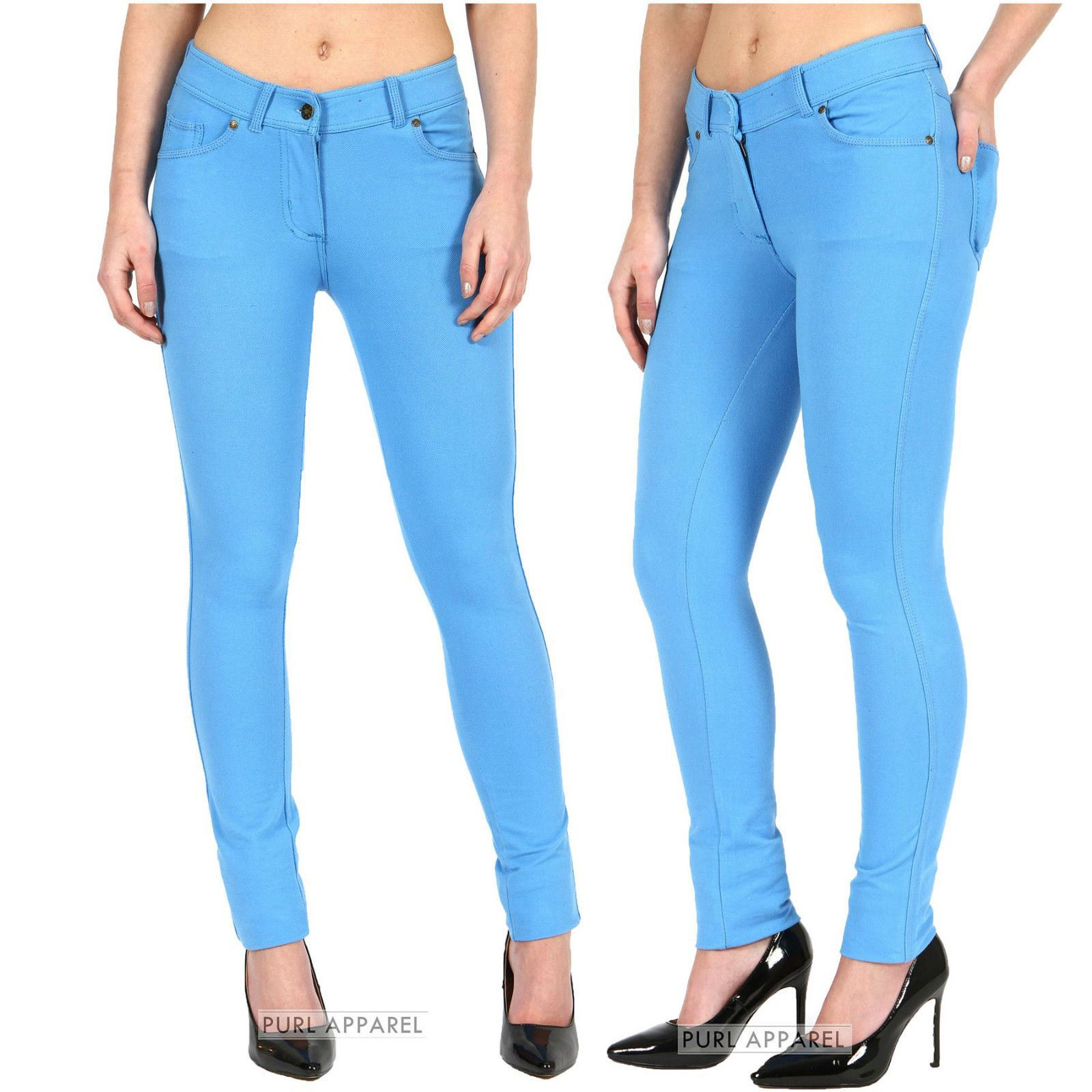 New Womens Ladies Coloured Skinny Stretchy Jeggings Jeans Trousers ...