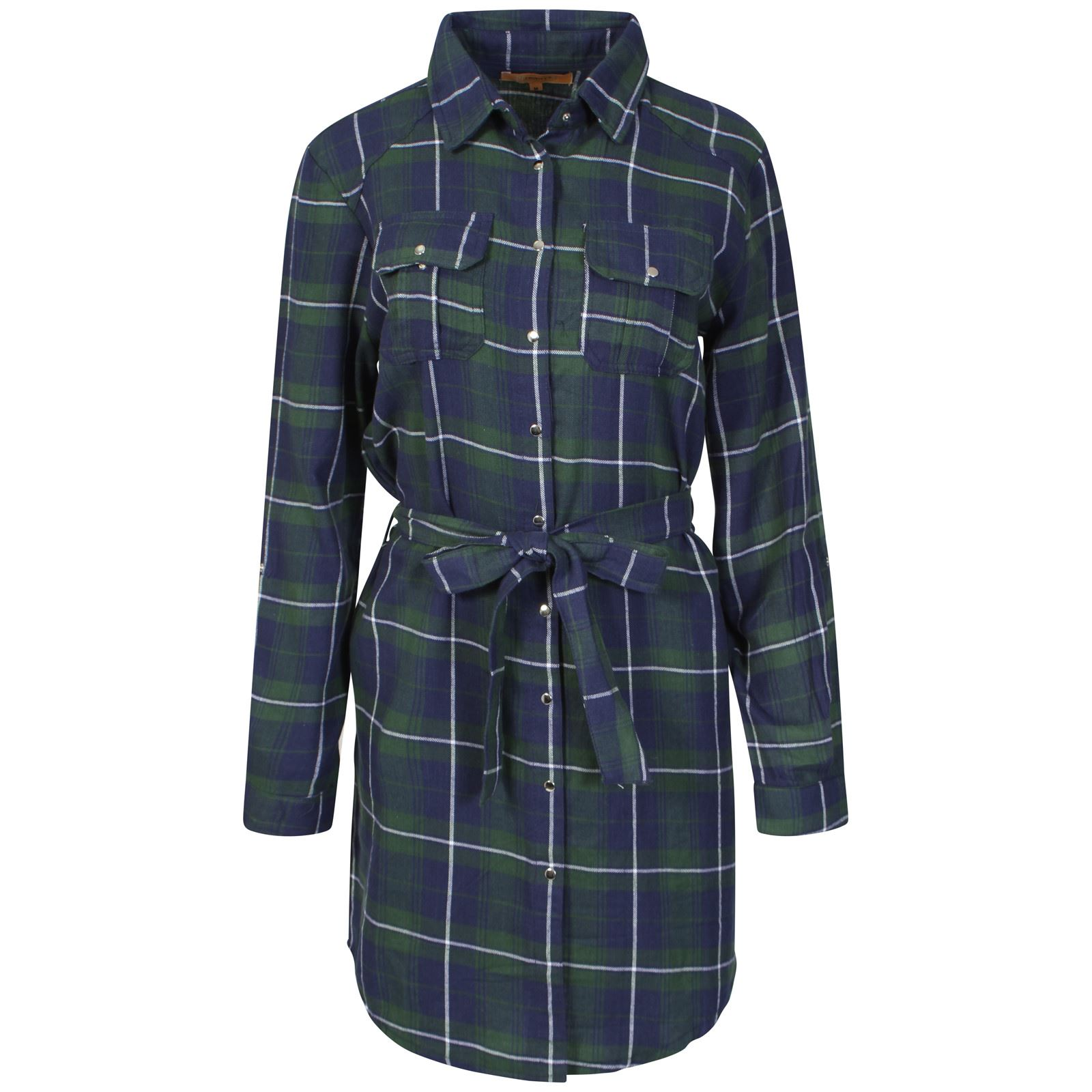 Womens ladies long sleeves belted check print scottish for Women s stewart plaid shirt