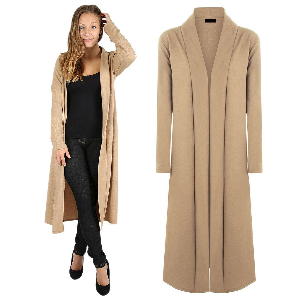 Womens Open Front MaxiFloaty Long Sleeve Cardigan Casual Jacket ...