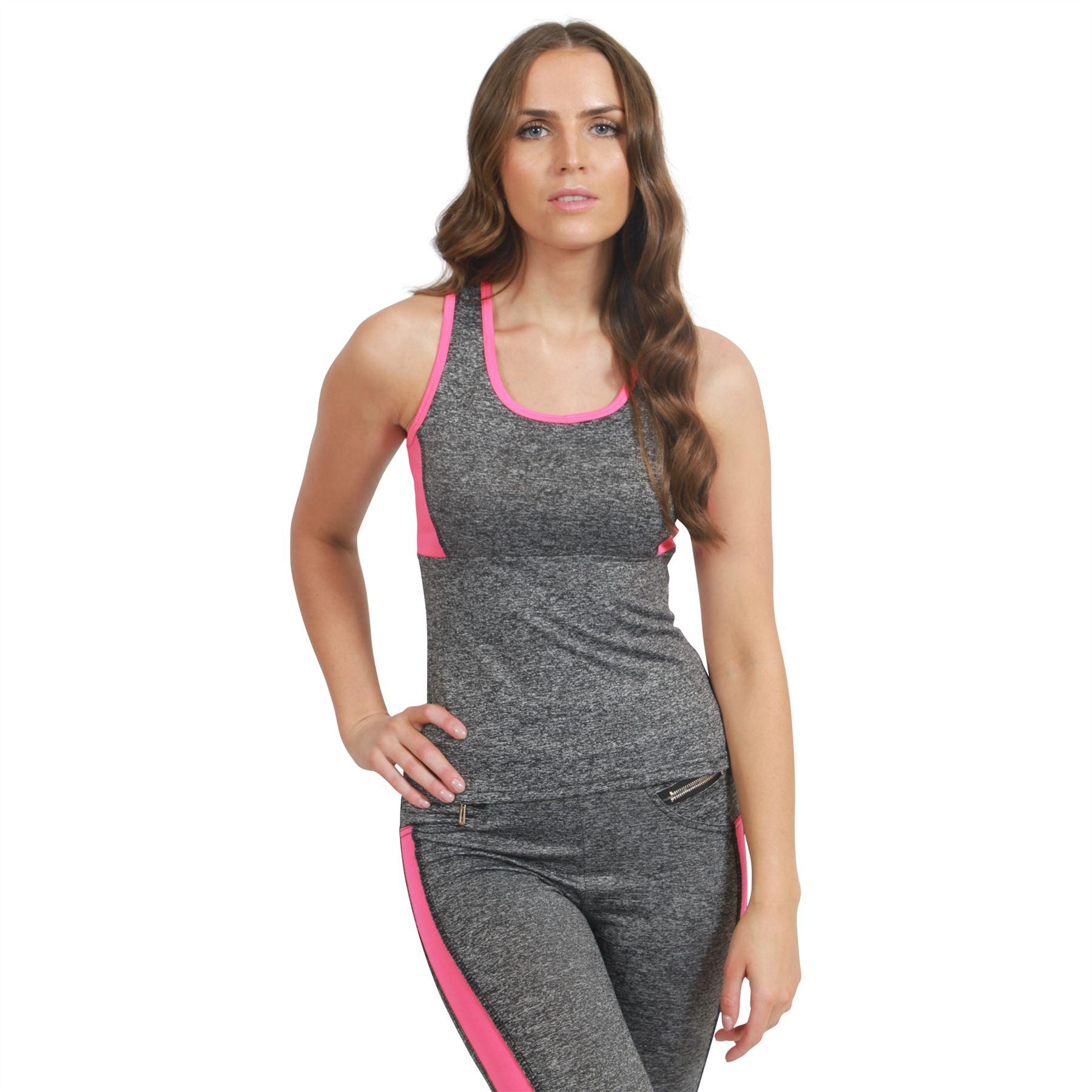 Womens Ladies Gym Fitness Panel Top Running Sports Yoga
