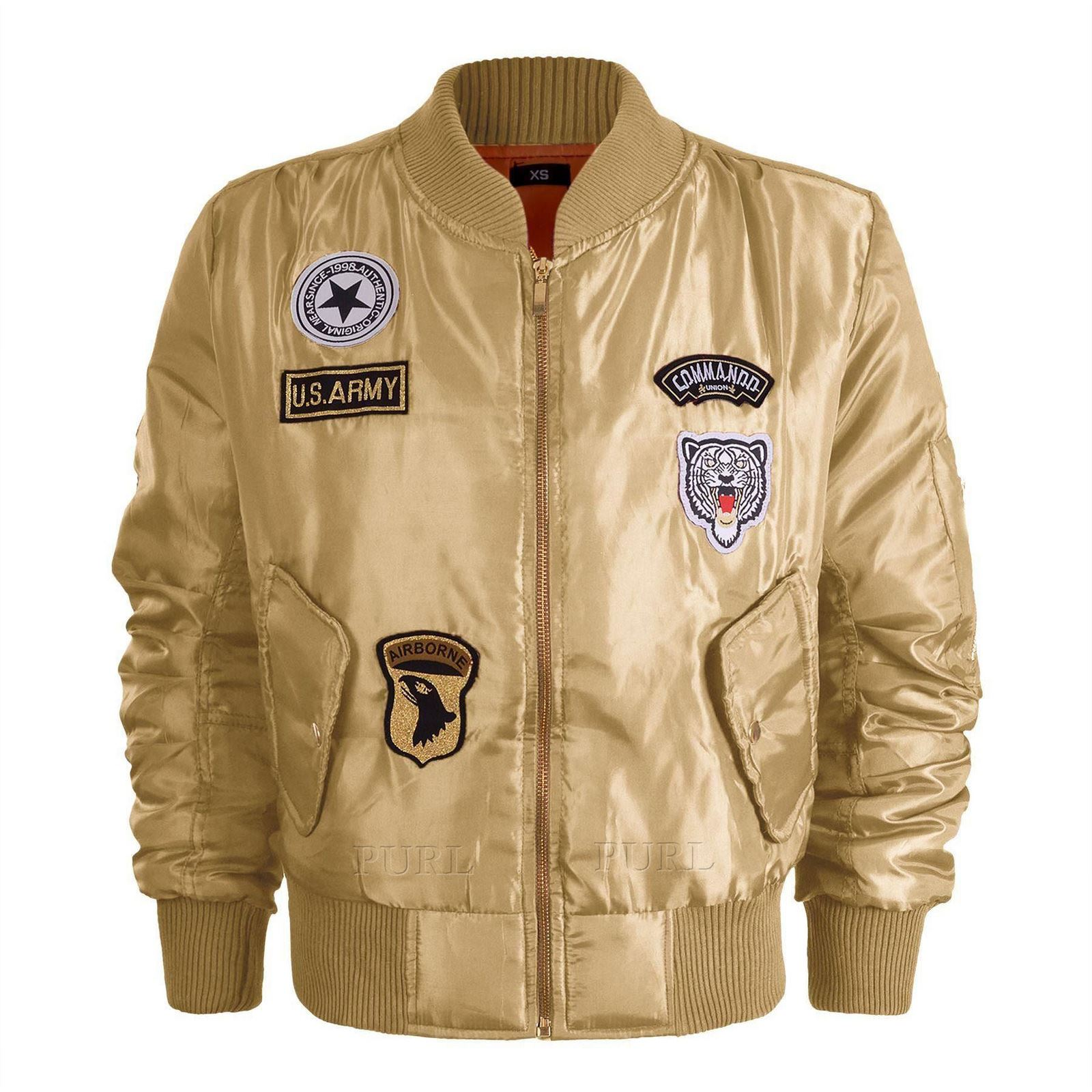 Womens Vintage Bomber Jacket Ladies Plus Size US Army Badges Biker ...
