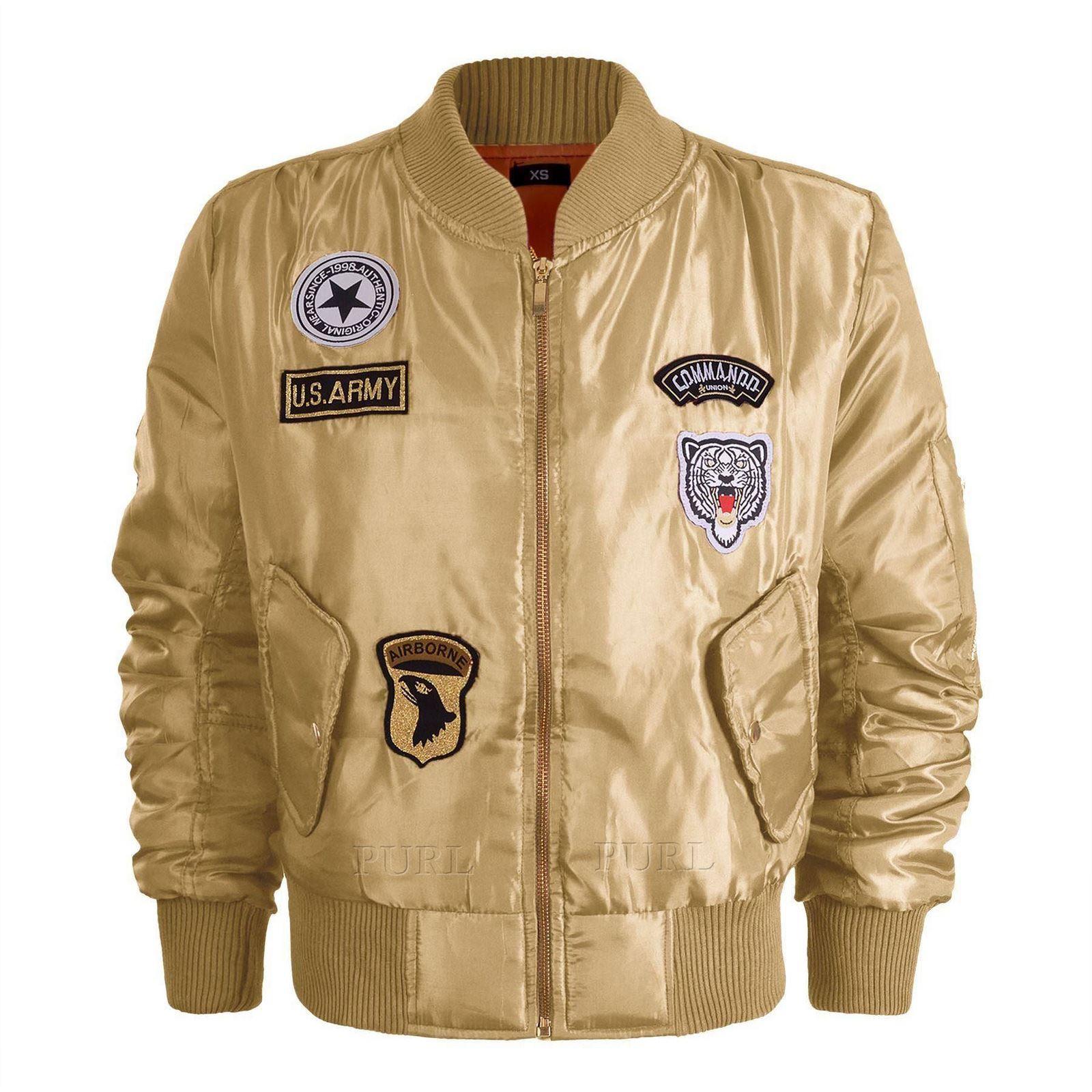Womens Vintage Bomber Jacket Ladies Plus Size US Army Badges Biker Jacket UK6-26 | EBay