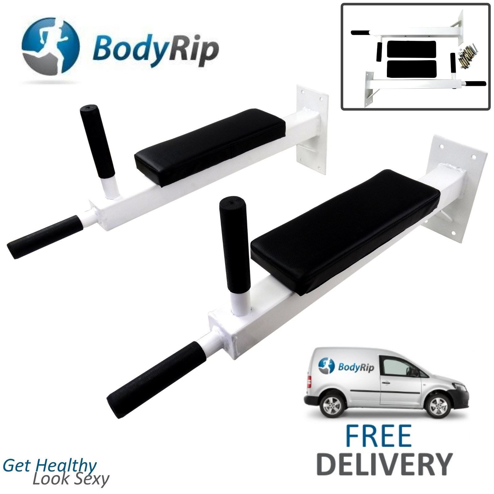 Details about bodyrip wall mounted dip station knee bars leg raise abs