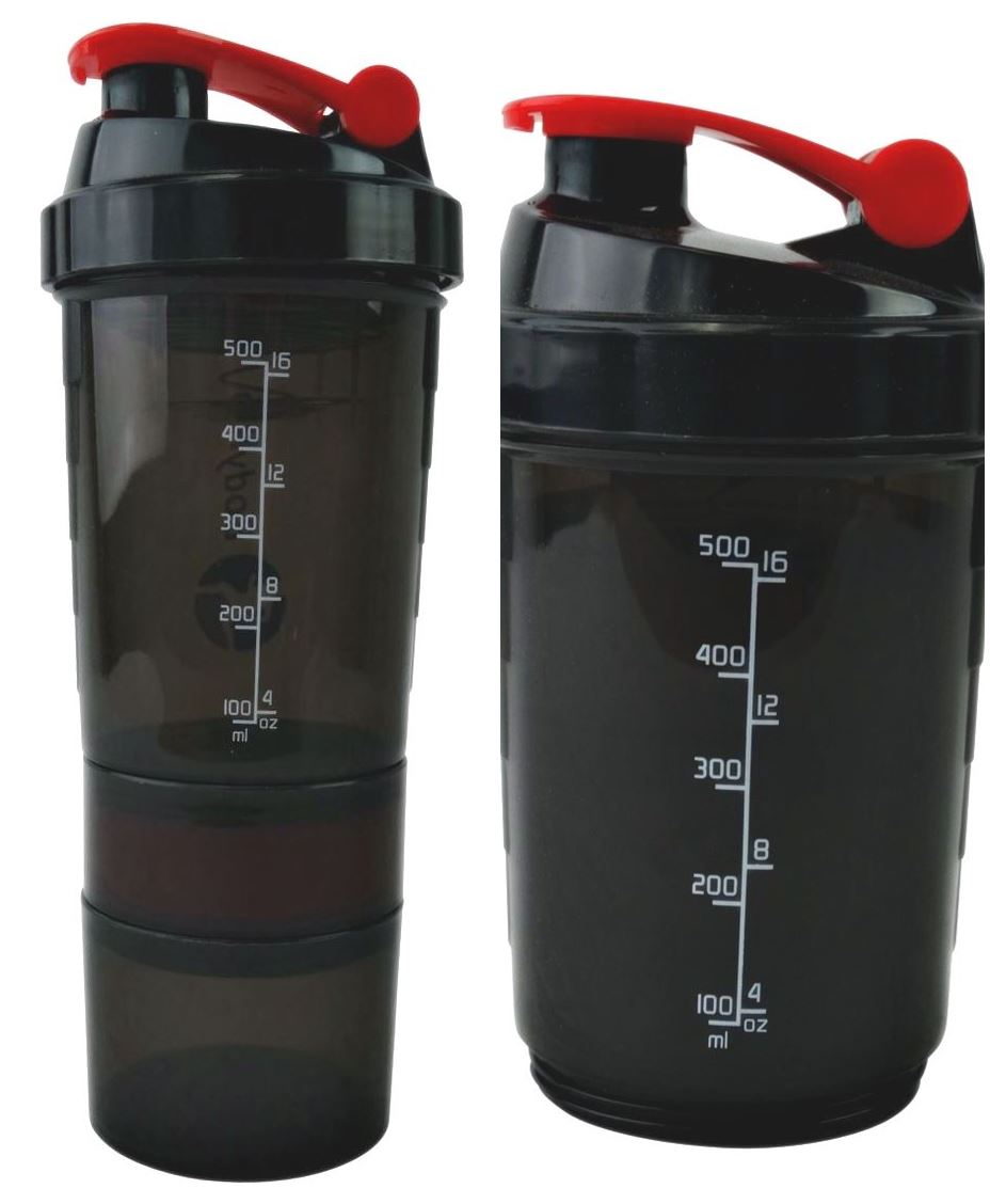 Protein Shaker Lot: Compartment Red Protein Shaker 500ml Water Nutrition Mixer