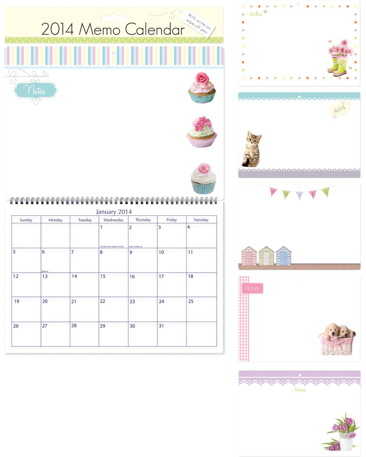 Kids Wall Calendar : Memo wall calendar wipeable board with pen notes