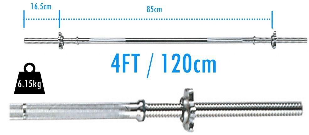 Bodyrip 4ft Barbell Vinyl Tri Grip Weight Set 25kg 1