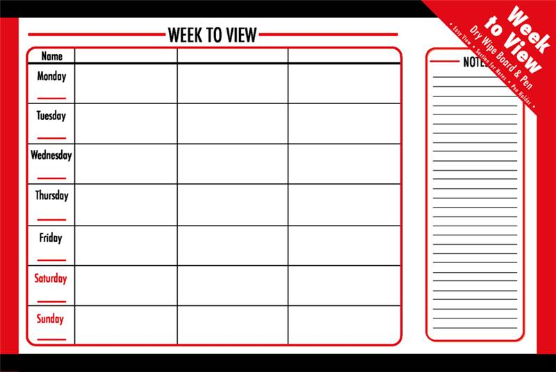 Weekly Calendar Board : Monthly or weekly dry planner board white office