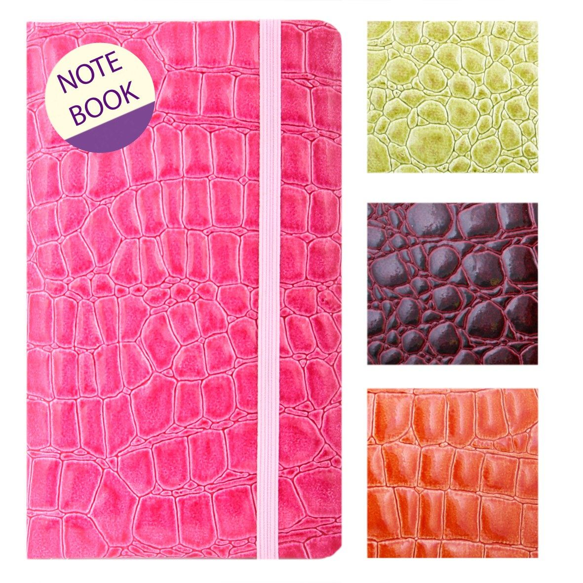 SLIM-NOTEBOOK-DIARY-CROCODILE-SKIN-TEXTURE-PADDED-COVER-NOTES-OFFICE-ORGANISER