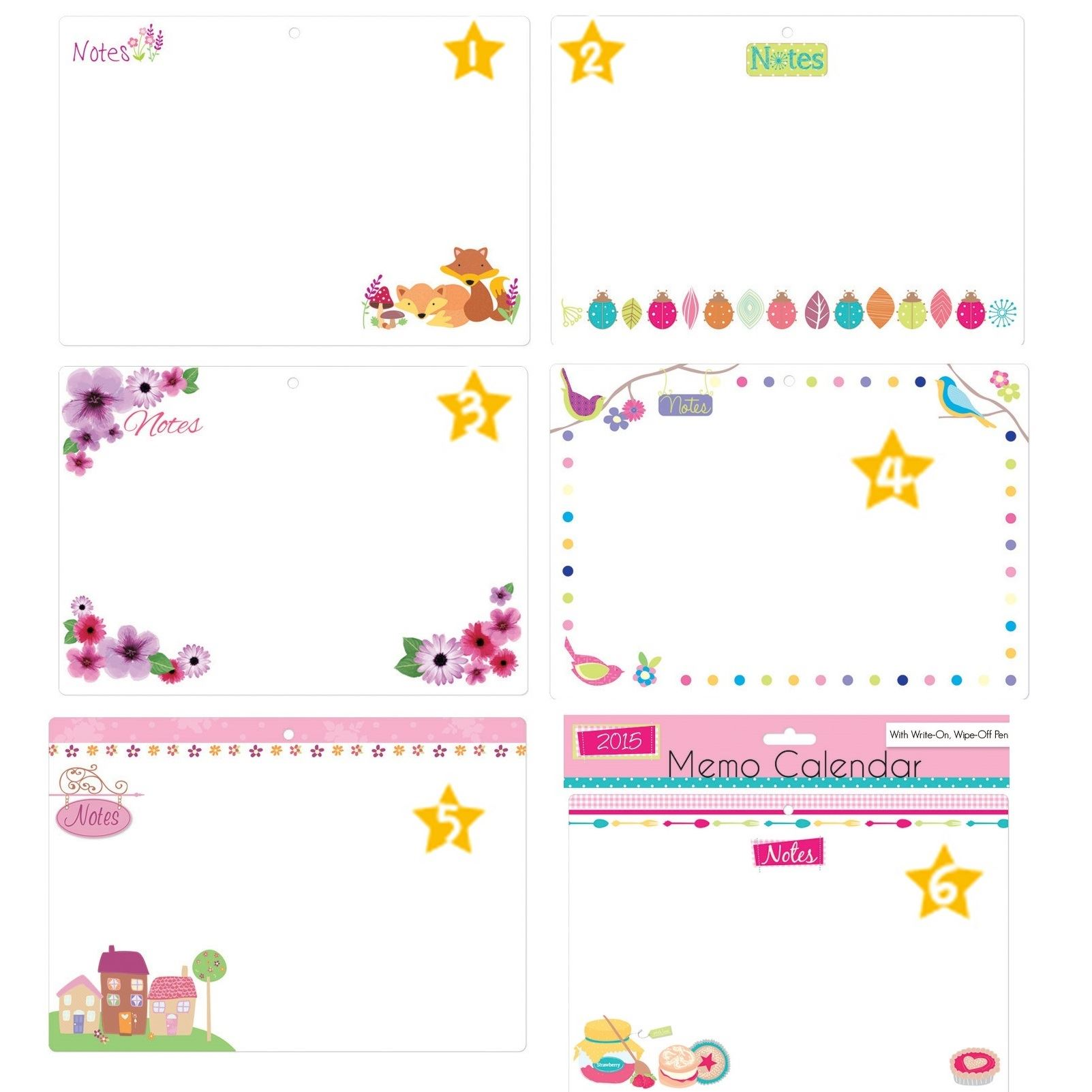 Kids Wall Calendar : Memo wall calendar with wipeable board pen notes
