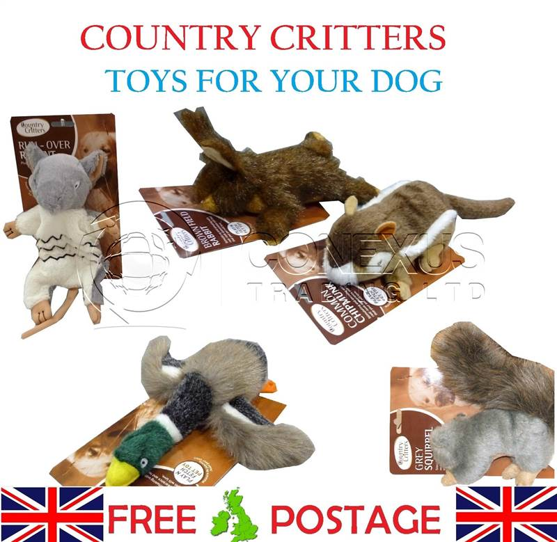 BUY-3-GET-1-FREE-COUNTRY-CRITTERS-MULTI-SQUEAKER-QUALITY-DOG-TOYS-DUCK-RABBIT