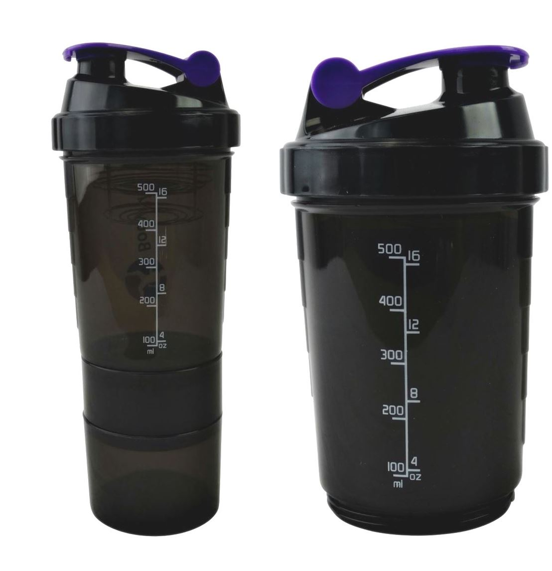 Protein Shaker Compartment: Compartment Purple Protein Shaker 500ml Water Nutrition