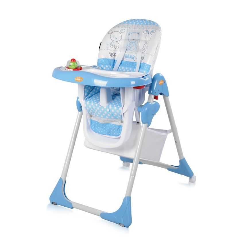 Baby Folding Feeding High Chair Seat PVC Adjustable Backrest Safety Belts BLU