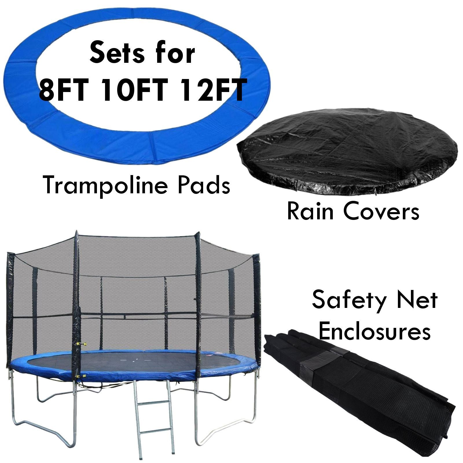 10 12 14 15 Trampoline Replacement Pad Pading Safety Net: Trampoline Safety Enlosure Net And Pad Set Fits 8FT 10FT