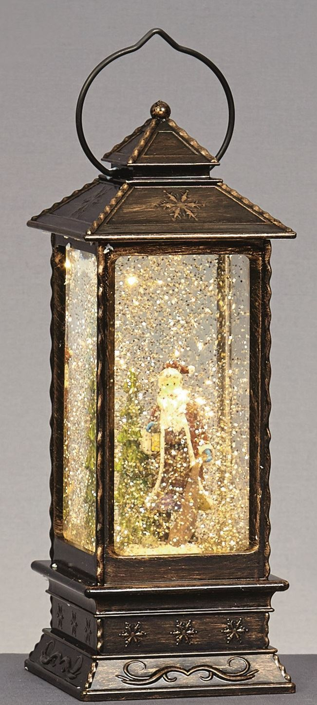 LIGHT UP 27cm Christmas Glitter Water Spinner LANTERN with ...