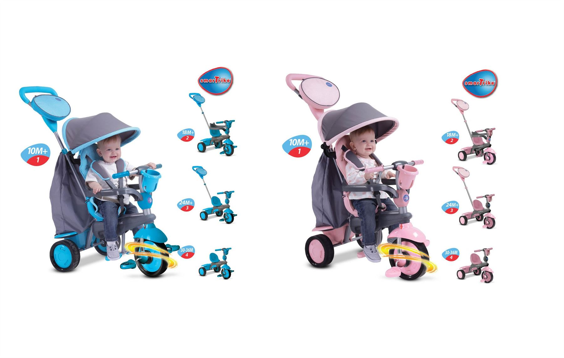 mookie smart trike swing trike pink grey or blue grey 4 in. Black Bedroom Furniture Sets. Home Design Ideas