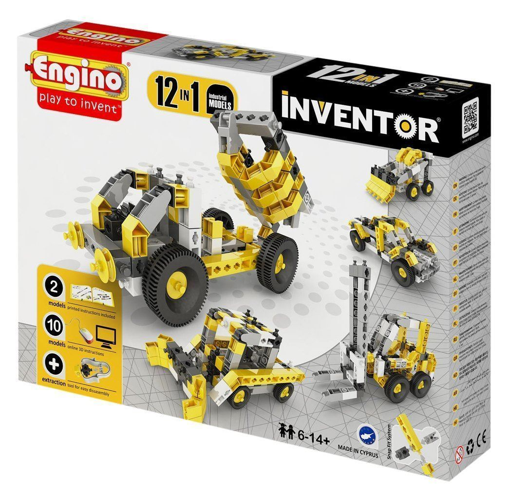 Engino Inventor Build 12 Models Industrial Vehicles Construction Kit #1234