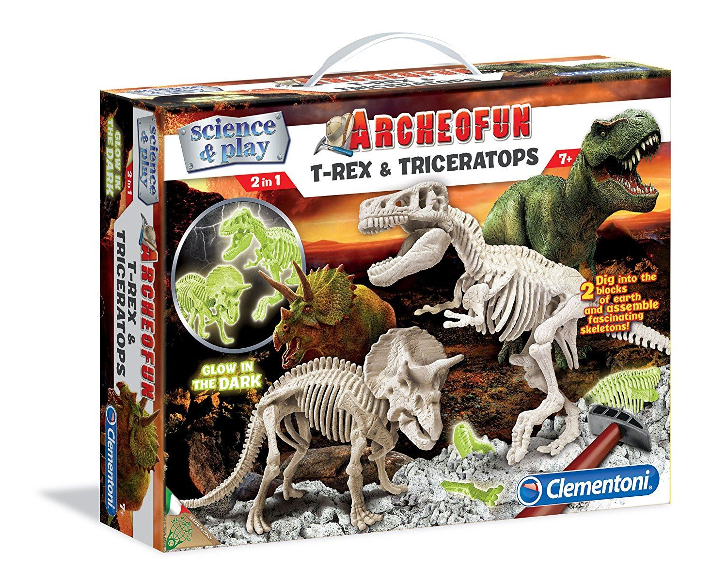 Archeofun T-rex And Triceratops (glow In The Dark) #61245